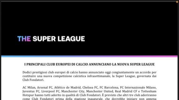 """È nata la Superlega! Vicepres. Commissione Europea: """"Difendiamo il nostro modello di sport"""""""
