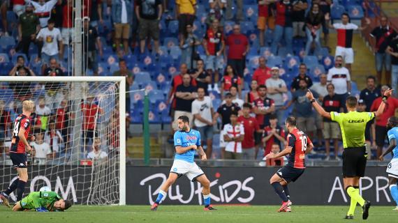 Genoa-Napoli, la moviola: contatto Buksa-Meret, il gol di Pandev era da annullare?